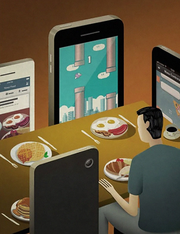 Satirical Illustrations Show Our Addiction To Technology - 16 satirical illustrations that offer a witty outlook on modern life