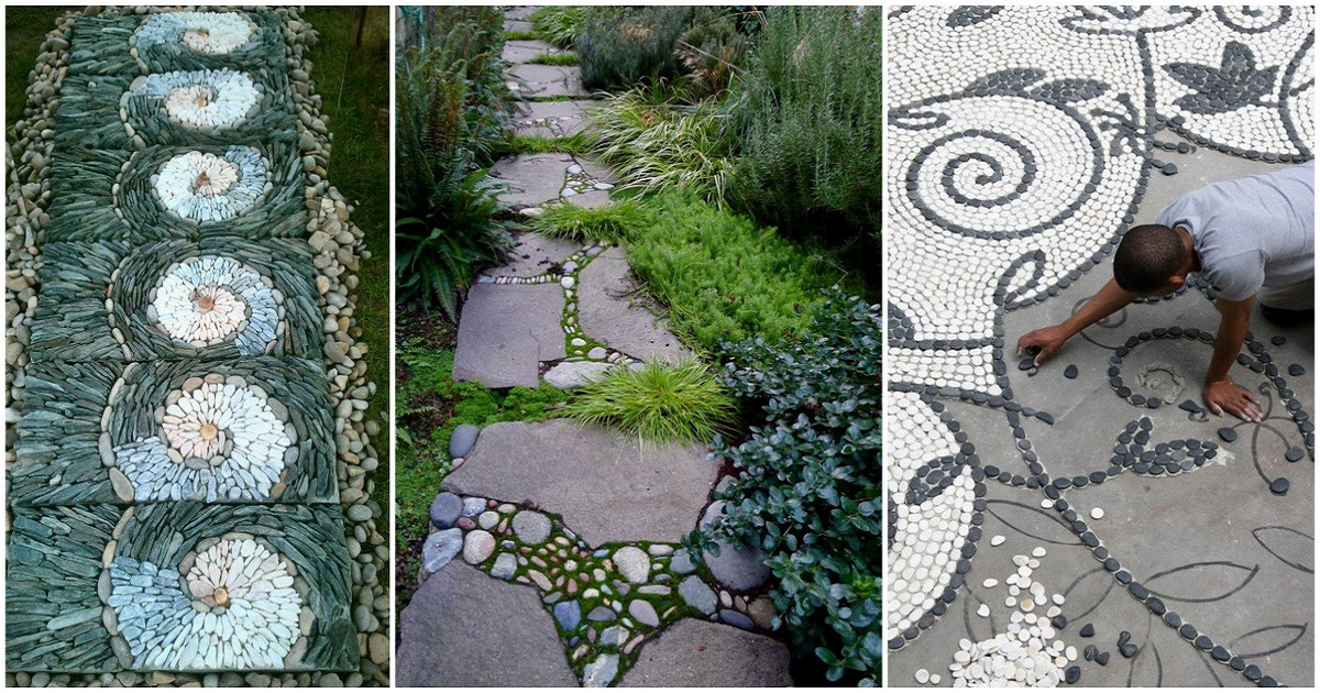 25 garden pathway pebble mosaic ideas for your home for Garden artist designs
