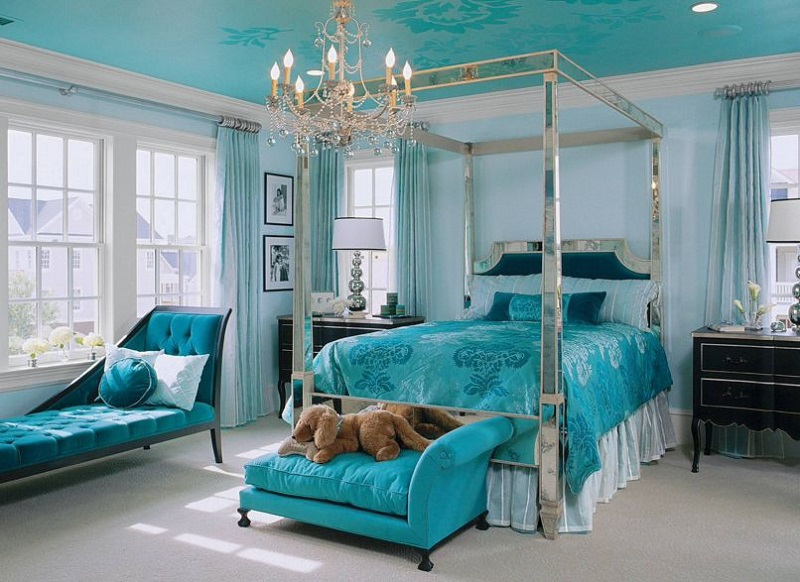 turquoise bedroom decor. AD Aqua Bedroom Design With A Mirrored Frame  40 Paint Ideas To Refresh Your Space for Spring
