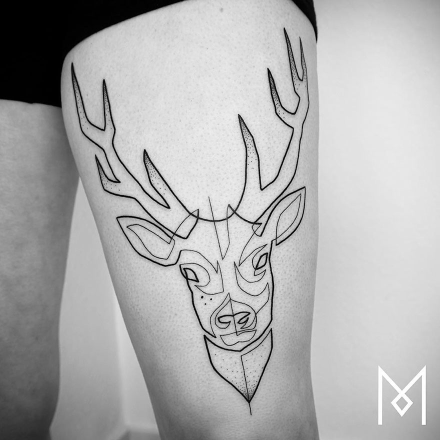AD Minimalist Single Line Tattoos By Mo Ganji