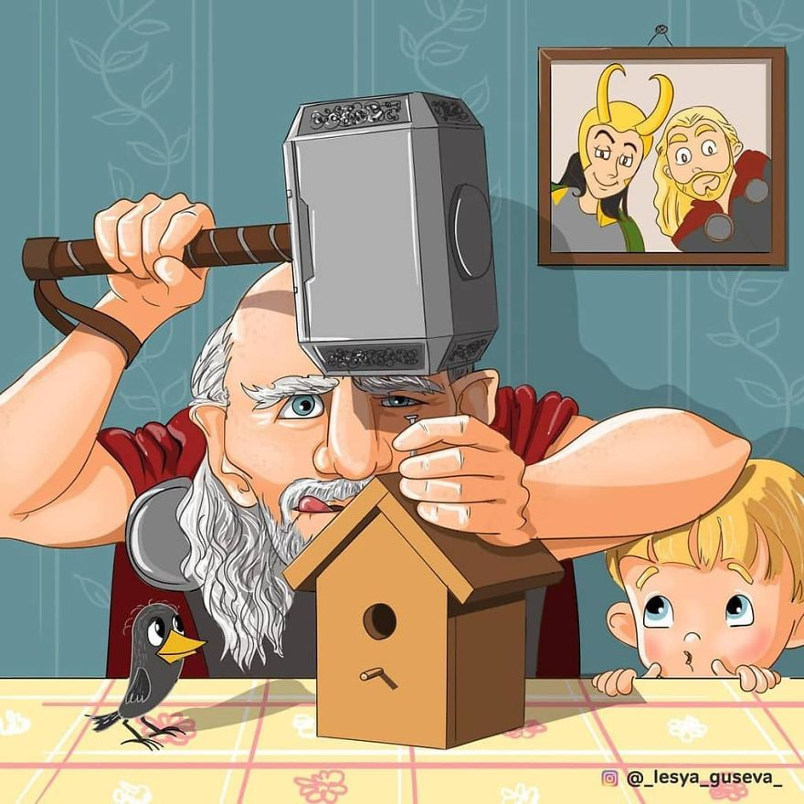 Russian Artist Illustrates What Would Happen If Famous Characters Got Old, And Thor Is Too Cute
