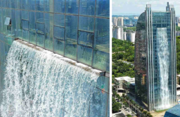Chinese Build Unbelievable 350ft Waterfall On A Skyscraper